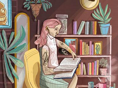 Reading design artwork art illustrations reading