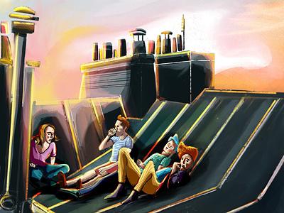 Roof top rooftop paris roof design artwork illustration