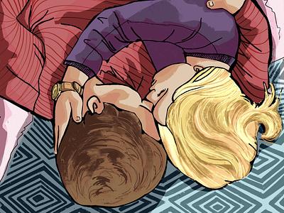 Cuddling art design illustration artwork