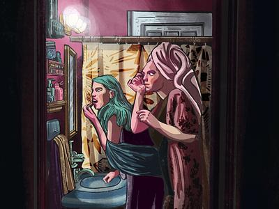 Party art girl party artwork design illustration