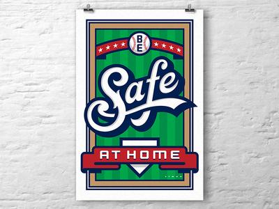 Be Safe at Home poster art ribbon banner covid19 coronavirus baseball script lettering poster