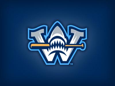 Wilmington Sharks Cap Logo studio simon baseball shark bat logo letter w