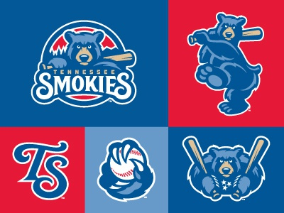 Smokies Extensions studio simon logo baseball smokies tennessee bear bat animal monogram paw claw