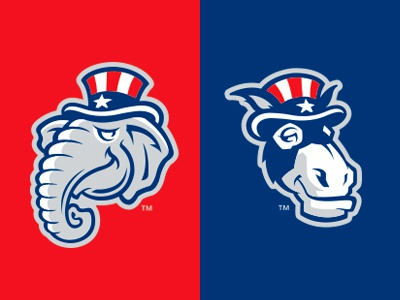 Are You Red or Blue? blue red politics donkey elephant baseball logo studio simon