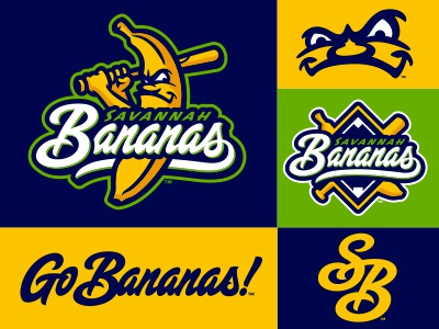Savannah Goes Bananas script lettering fruit banana character baseball logo studio simon