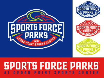 Sports Force Parks amusement park lettering logo sports studio simon