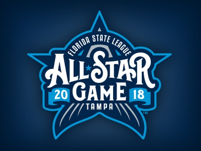 Florida State League All-Star Game custom type hand lettering tarpons tampa fish star all-star logo baseball studio simon