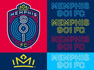 Memphis 901 FC soccer memphis crown lettering neon badge crest logo studio simon