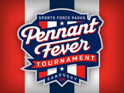 Pennant Fever badge baseball script lettering sports logo studio simon