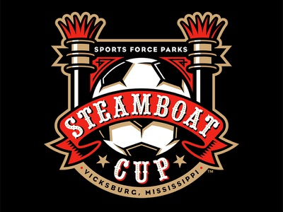 Steamboat Cup riverboat steamboat tournament soccer badge logo studio simon