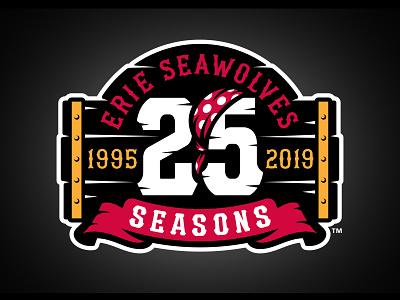 Erie SeaWolves 25 Seasons pirate bandana sports badge logo baseball studio simon