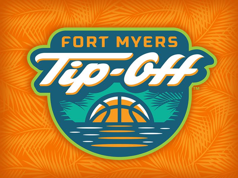 Fort Myers Tip-Off ncaa palm tree florida basketball script badge sports logo studio simon