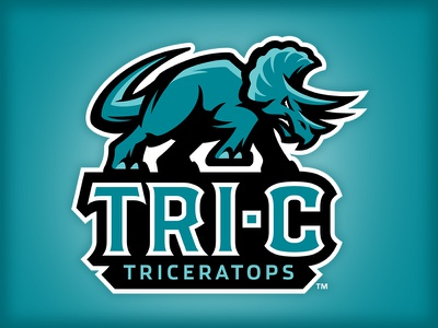 Tri-C Triceratops logo 3d college triceratops badge sports dinosaur studio simon