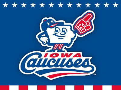 Iowa Caucuses lettering script illustration character caucuses patriotic iowa logo baseball studio simon
