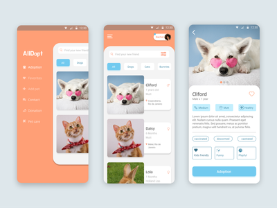AllDopt - Pet Adoption App mobile app dog mobile pet care app desing pet app adoption pet app ux design ux design