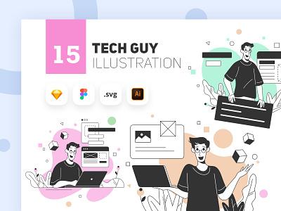 Tech Guy Illustration Kit developer digital ux ui tech ui8 character illustrator website minimal animation web app flat vector kit illustration