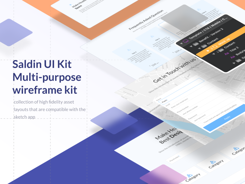 Saldin Wireframe Kit vector ux ui minimal digital developer app ui8 sketch mobile desktop wireframe kit