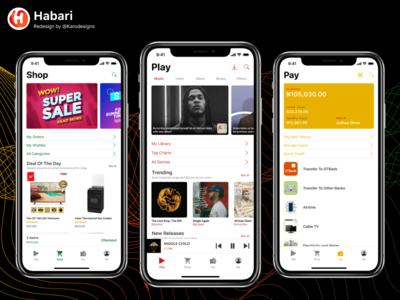 Habari App Redesign ux design design uiuxdesign uiux buy figma credit card payment play now playing wallet commerce shop pay music gtbank habari android ios
