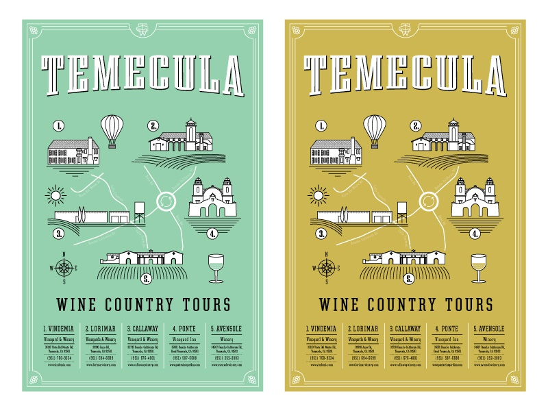 Temecula Wine Country Tour Posters illustration grapes wine country temecula wine