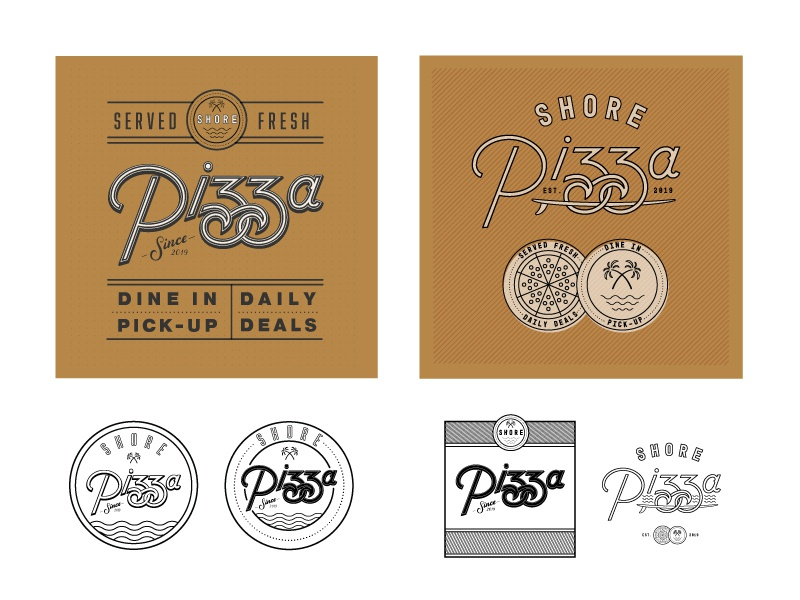 Shore Pizza Box/Badge Concepts coastal beach pizza