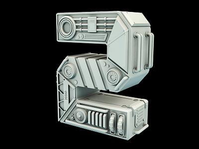 Number 2 engine futuristic sci-fi scifi mechanic render clay typography illustration 3d cinema4d c4d