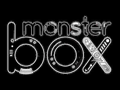 Monster Box Machine machine sketch mechanic typography concept vector logo design illustration