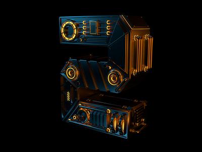 Number 2 Final Vertical redshift design abstract sci-fi typography scifi machine mechanic concept render 3d cinema4d c4d