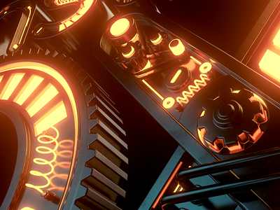 Mechanic Monster Box redshift logo sci-fi typography scifi machine mechanic concept render 3d cinema4d c4d