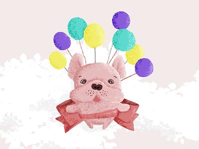 Bulldog with hope photoshop illustration