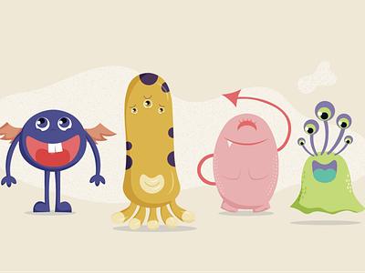 little monsters illustrator vector design illustration