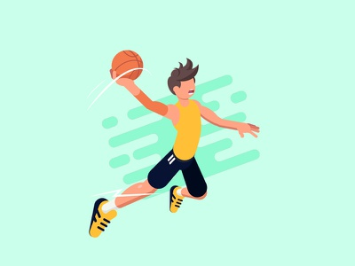 Basketball Player noface speed colours adobe hair debut yellow ball