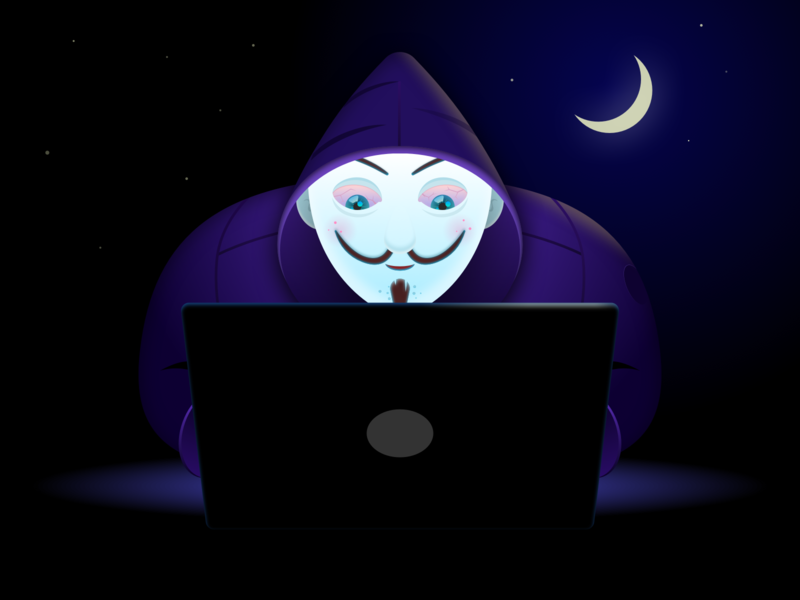 Hacker hacker night creative vector new cute character concept graphic design illustration