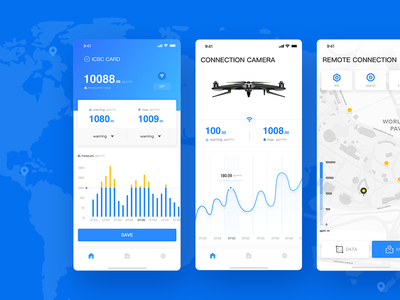 UAV APP data uav blue technology pilotless navigation chart ui app