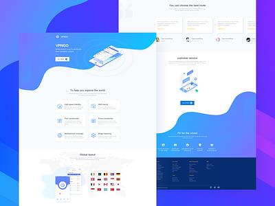VPN Website Design clean blue app ui web