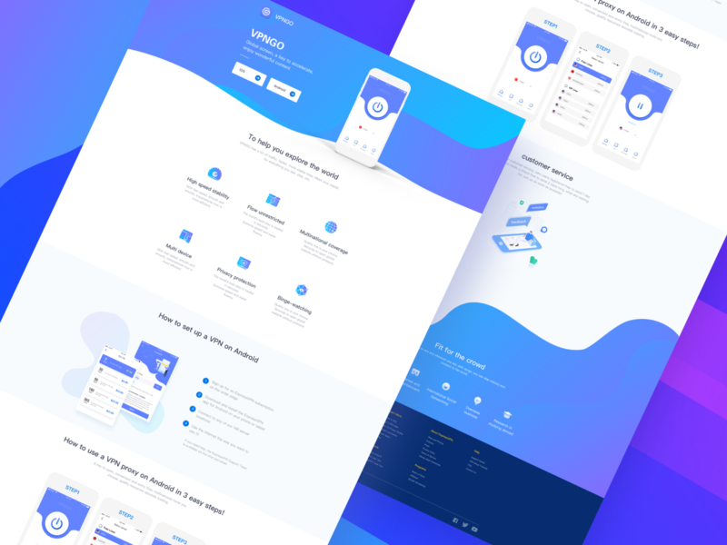 Vpn Web 4 design app blue clean vpn ui web
