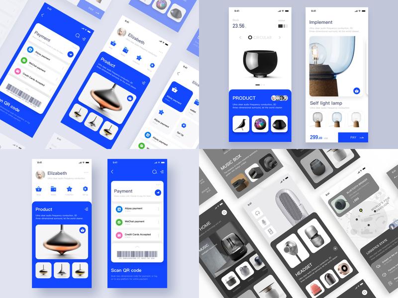 2018 Design sketch black blue smart home design clean web app ui