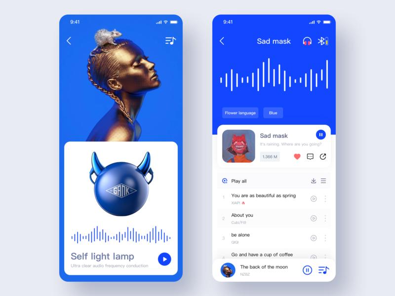Smart Music APP 2 music app web blue smart app sketch app ui
