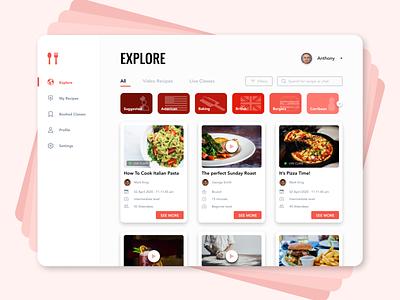 Cooking Recipes Platform food and drink branding social network social chef recipes classes food vivid clean web ux ui design