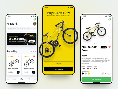 Bicycle Mobile App vivid shopping app shop sporting yellow bikers sports outdoor cycling cycle mobileapp design uiux uxui bike