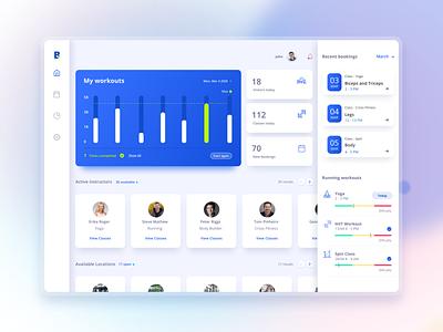 Fitness App Dashboard webapp webdesign health app tracker graphs development clean dashboard ui ui blues dashboard heath fitness app fitness