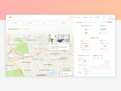 Property - Analytics Platform angular development real estate map property analytics web design ux ui