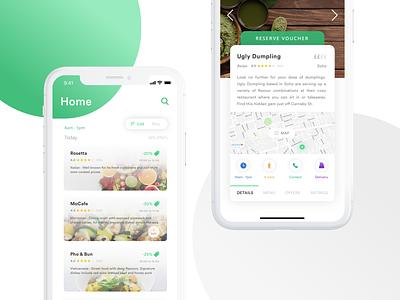 Restaurant - Voucher App typography reviews food hospitality restaurant map ux ui development ios app design