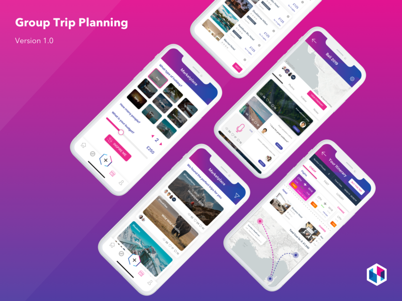 Group Trip Planning booking social travel app travel map ios app design ux ui