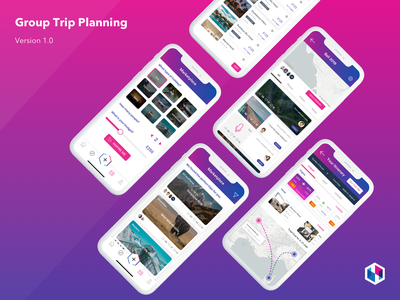 Group Trip Planning booking social travel app travel map ios app design ux ui