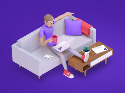 Comfy coffee chats textnow isometric computer laptop tablet smartphone devices coffee couch character human 3d