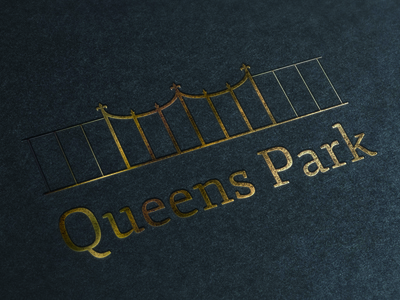 Queens Park queens park gate fence logo crown jewels gold