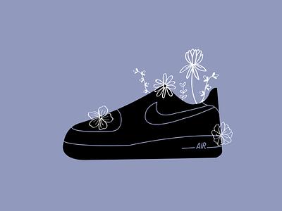 AF1 Flowers - Graphic Design flowers flat illustration illustration illustrator flat vector nike