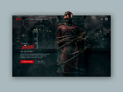 Netflix Dardevil Series - Redesign dark app dark series marvel netflix website webdesign web ux ui design
