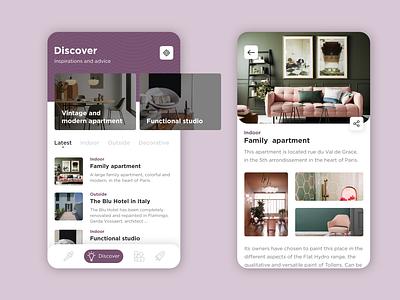 Interior design - UI/UX mobile ui mobile app article interior design ideas interior design app design app website webdesign web ux ui design