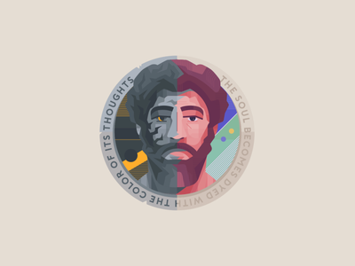 MARCUS AURELIUS typography mascot vector illustration creative design identity branding logo badge design badge